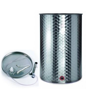 Depósitos acero inox para vino con fondo plano y tapa siempre lleno cierre neumático